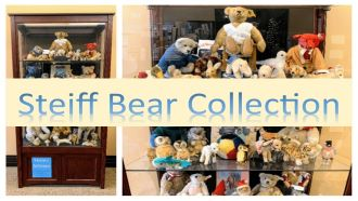 Steiff bear collection words over picture of bear displays
